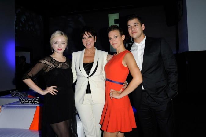 Lorie aux côtés de Kris Jenner, Rob Kardashian et Francesca Eastwood le 19 septembre 2012 à Paris