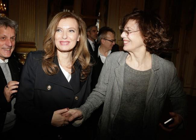 Jane Birkin et Valérie Trierweiler, le 10 avril 2013 à Paris