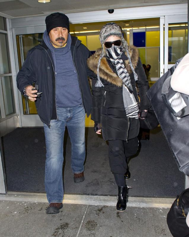 Madonna à l'aéroport JFK de New-York le 21 janvier 2014