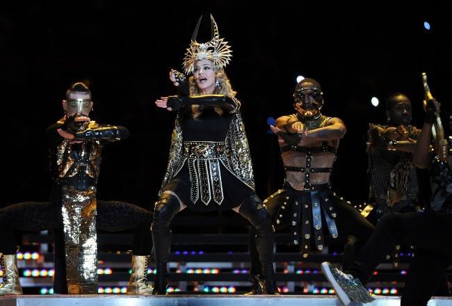 Madonna lors de la finale du Super Bowl à Indianapolis, le 5 février 2012.