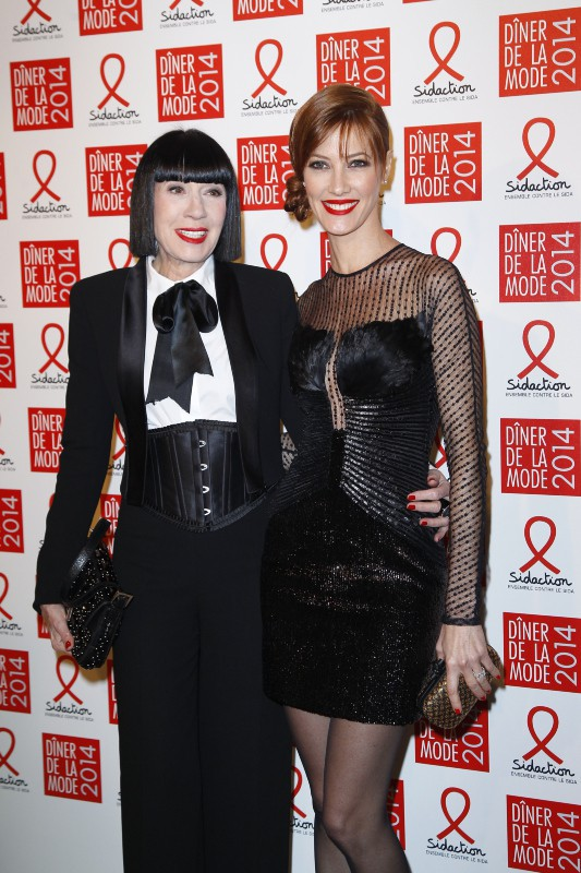 Mareva Galanter et Chantal Thomass lors du Dîner du Sidaction à Paris, le 23 janvier 2014.