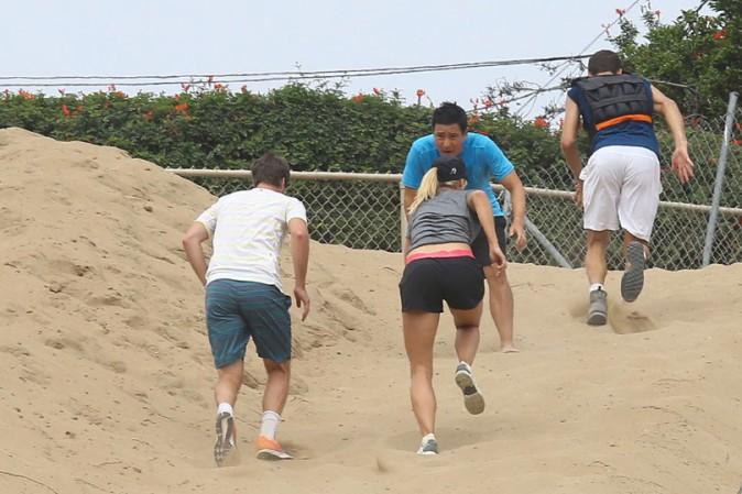 Maria Sharapova en pleine séance d'entraînement à Los Angeles le 16 juillte 2014