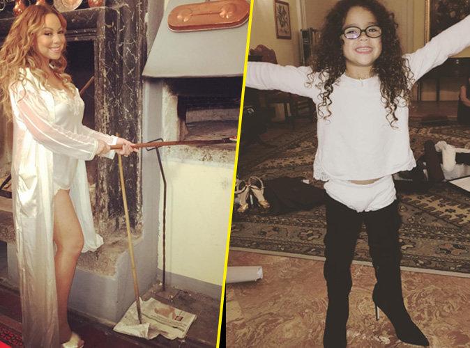 Mariah Carey cuisine en petite tenue et sa fille porte ses cuissardes.