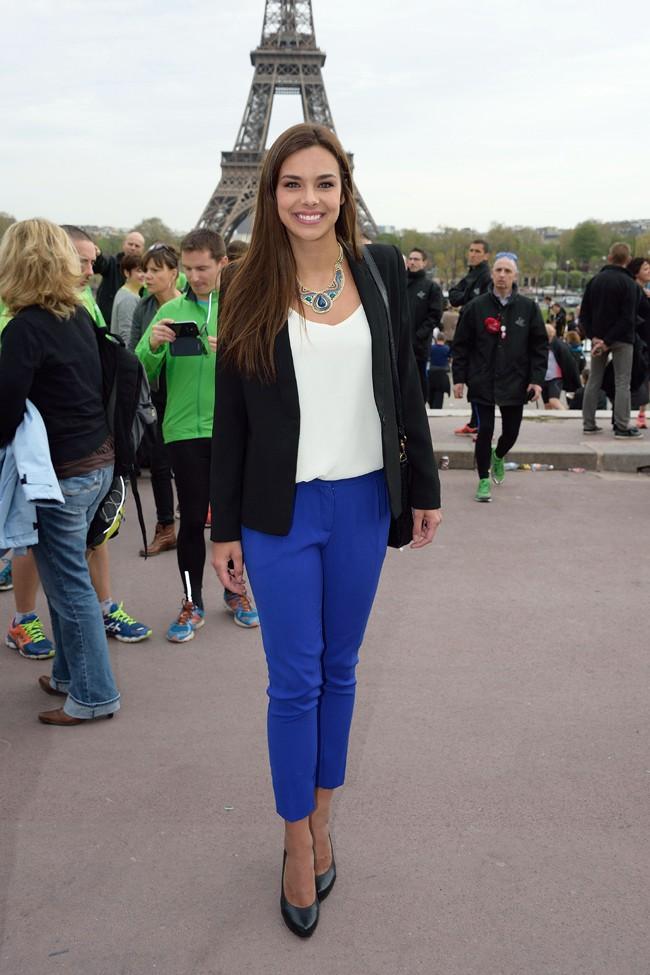 Marine Lorphelin au départ de la Course du Coeur organisé le 2 avril 2014 au Trocadéro, à Paris
