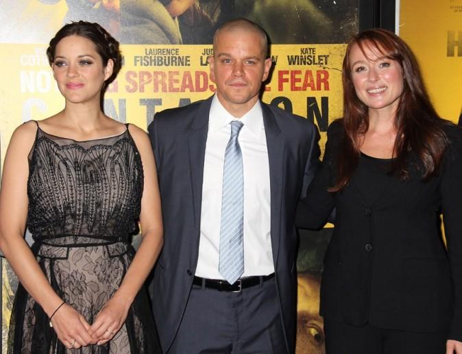 Marion Cotillard, Matt Damon et Jennifer Ehle lors de la première du film Contagion à New York, le 7 septembre 2011.