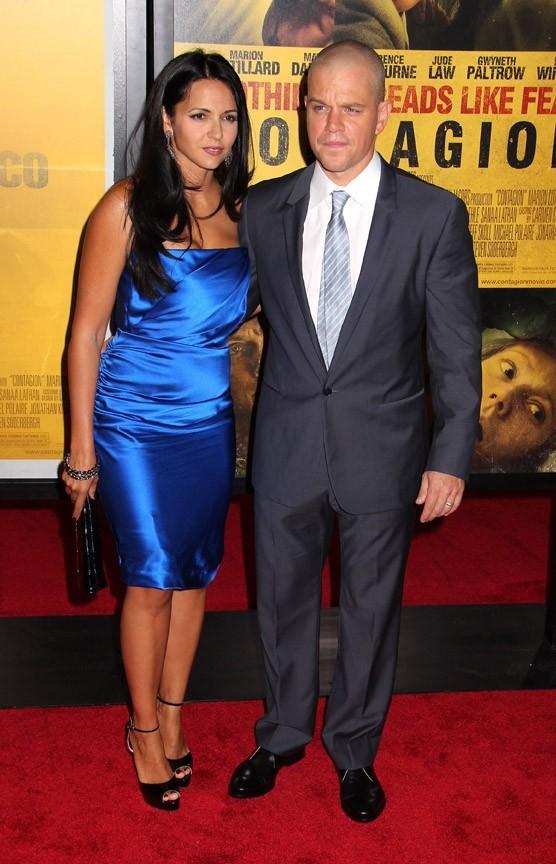 Matt Damon et sa femme Luciana lors de la première du film Contagion à New York, le 7 septembre 2011.