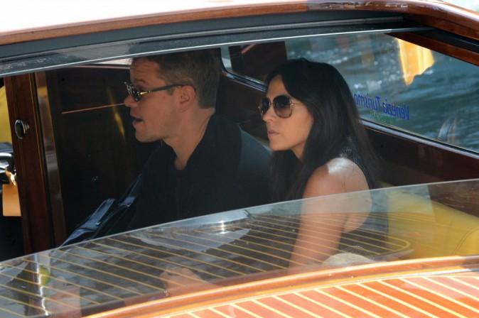 Matt Damon et Luciana Bozan Barroso à Venise le 26 septembre 2014