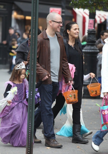 Matt Damon en famille le 28 octobre 2012 à New York