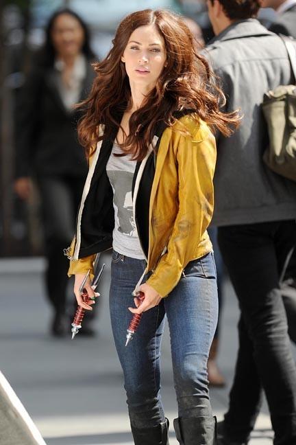 Megan Fox sur le tournage des Tortues Ninja à New-York le 20 mai 2013
