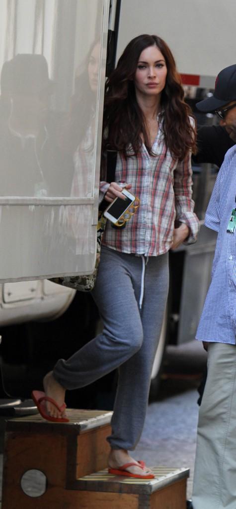 Megan Fox sur le tournage de Teenage Mutant Ninja Turtles à New-York le 18 juillet 2013