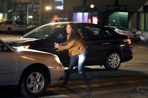 Megan Fox sur le tournage des Ninja Turtles à New-York le 28 avril 2014