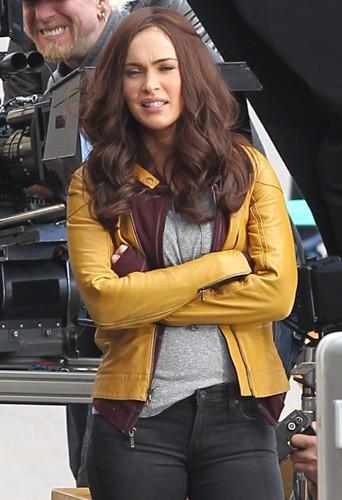 Megan Fox sur le tournage des Tortues Ninja à Los Angeles le 2 avril 2014
