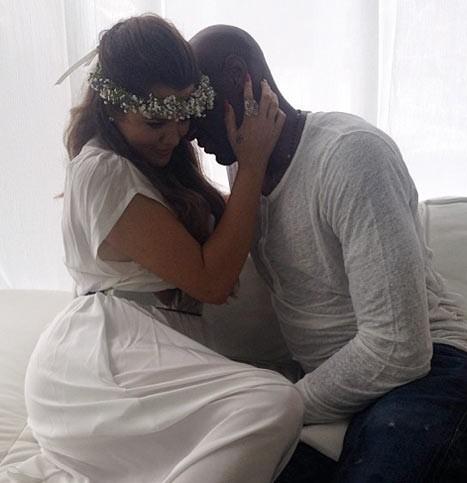 Khloe Kardashian et son mari Lamar Odom à la baby shower de Kim Kardashian à Los Angeles, le 2 juin 2013.