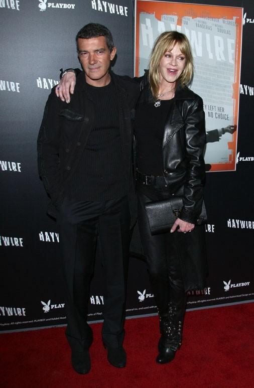 Mélanie Griffith et Antonio Banderas à l'avant-première d'Haywire hier soir à Los Angeles