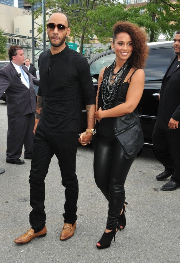 Alicia Keys et son mari Swizz Beatz se rendant au défilé Alexander Wang à New York, le 10 septembre 2011.