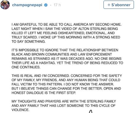 Drake s'exprime sur les meurtres de Philando Castile et Alton Sterling