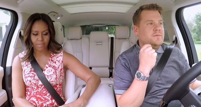 "Photos : Michelle Obama se la joue Beyoncé dans le ""Carpool Karaoke"" de James Corden !"