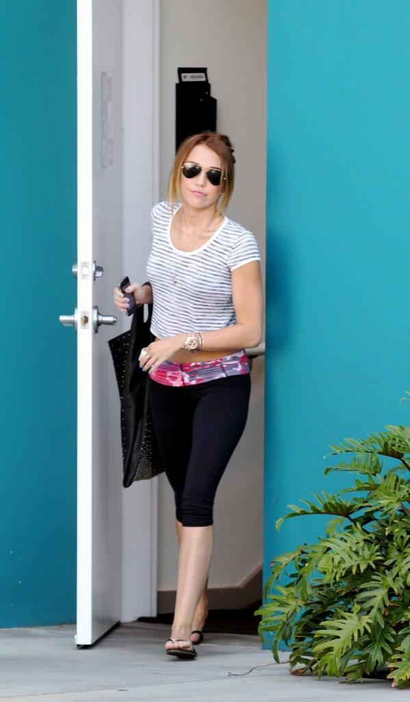 Miley à la sortie de sa leçon de Pilates