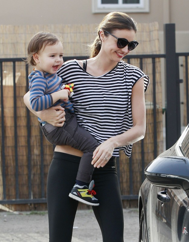 Miranda Kerr et son fils Flynn le 9 janvier à Los Angeles