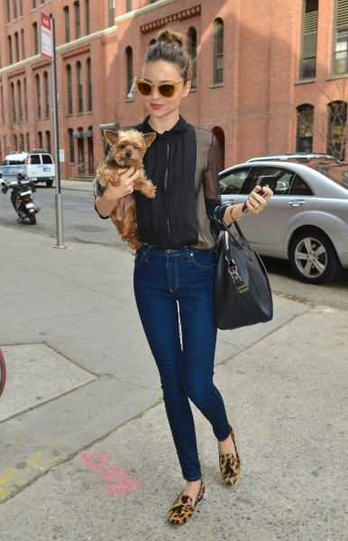 Miranda Kerr avec son chien Frankie dans les rue de New York, le 25 novembre 2012.