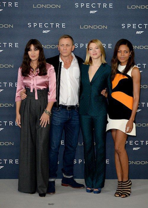 Daniel Craig, Monica Bellucci, Léa Seydoux, Naomie Harris à Londres pour Spectre, le 22 octobre 2015