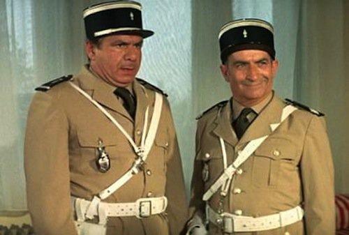 Michel Galabru et Louis de Funès dans Les Gendarmes à Saint-Tropez