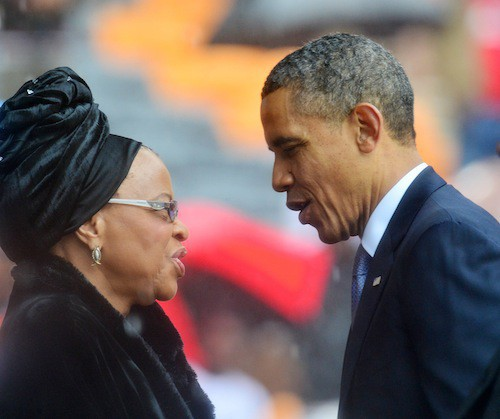 Barack Obama et Graca Machel, la dernière femme de Nelson Mandela