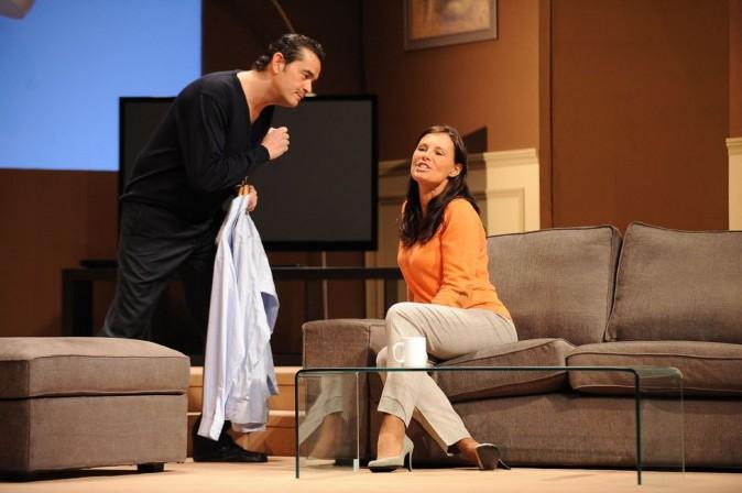 Stéphane Slima dans la pièce Piège à Matignon avec Nathalie Marquay-Pernaut en février 2012