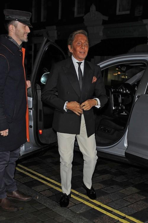 Le couturier Valentino à l'anniversaire de Mario Testino à Londres, le 29 octobre 2014