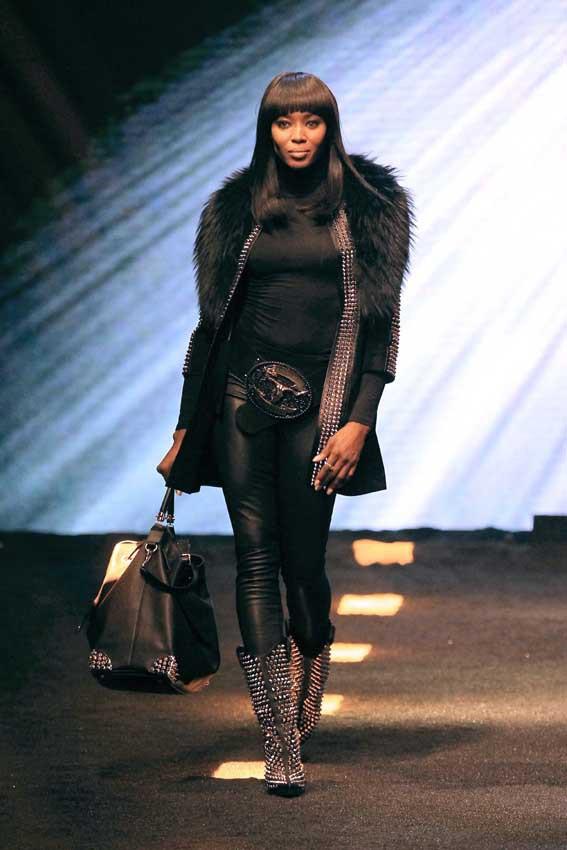 Naomi Campbell au défilé Philipp Plein organisé le 23 février 2014 à Milan