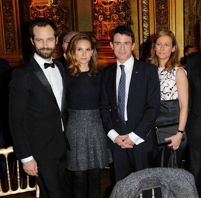 Natalie Portman, Benjamin Millepied, Manuel Valls et Anne Gravoin le 12 janvier 2015