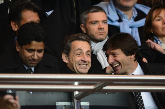 Nasser Al-Khelaifi, Nicolas Sarkozy et et Leonardo lors du match entre le PSG et Nice, le 21 avril 2013.