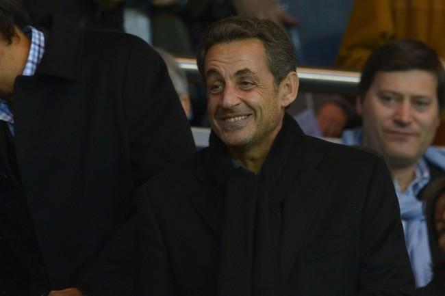 Nicolas Sarkozy lors du match entre le PSG et Nice, le 21 avril 2013.