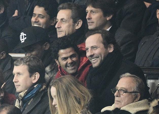 Jamel Debbouze et Fred Testot au Parc des Princes, à Paris, le 24 février 2013