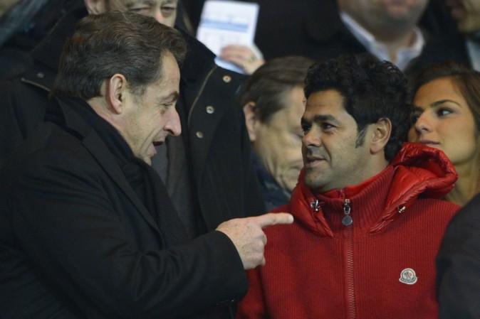 Nicolas Sarkozy et Jamel Debbouze au Parc des Princes, à Paris, le 24 février 2013