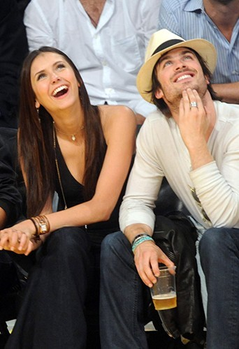Nina et Ian à un match de basketball à Los Angeles, en mai 2010