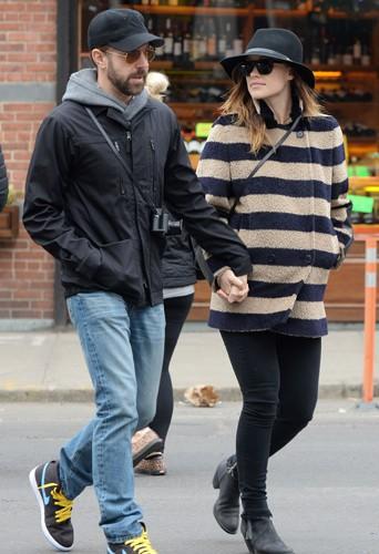 Jason Sudeikis et Olivia Wilde à New York le 10 mars 2014
