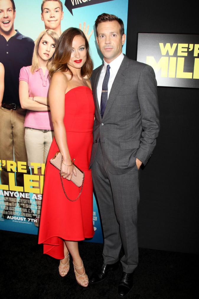 """Olivia Wilde et Jason Sudeikis lors de la première du film """"We're the Millers"""" à New York, le 1er août 2013."""