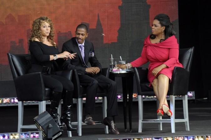 Oprah Winfrey avec Mariah Carey et son mari