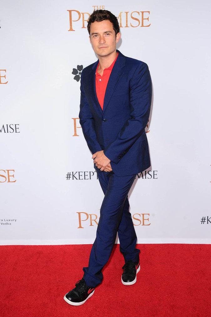 Orlando Bloom sur le tapis rouge lors de l'avant-première du film The Promise le 12/04/17 à Los Angeles