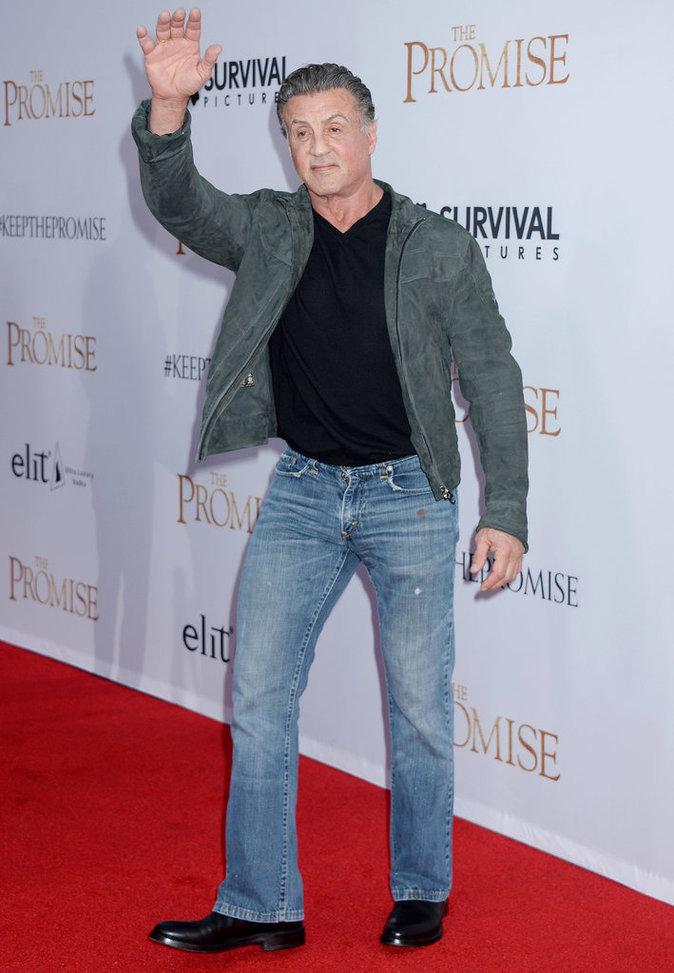 Sylvester Stallone sur le tapis rouge lors de l'avant-première du film The Promise le 12/04/17 à Los Angeles