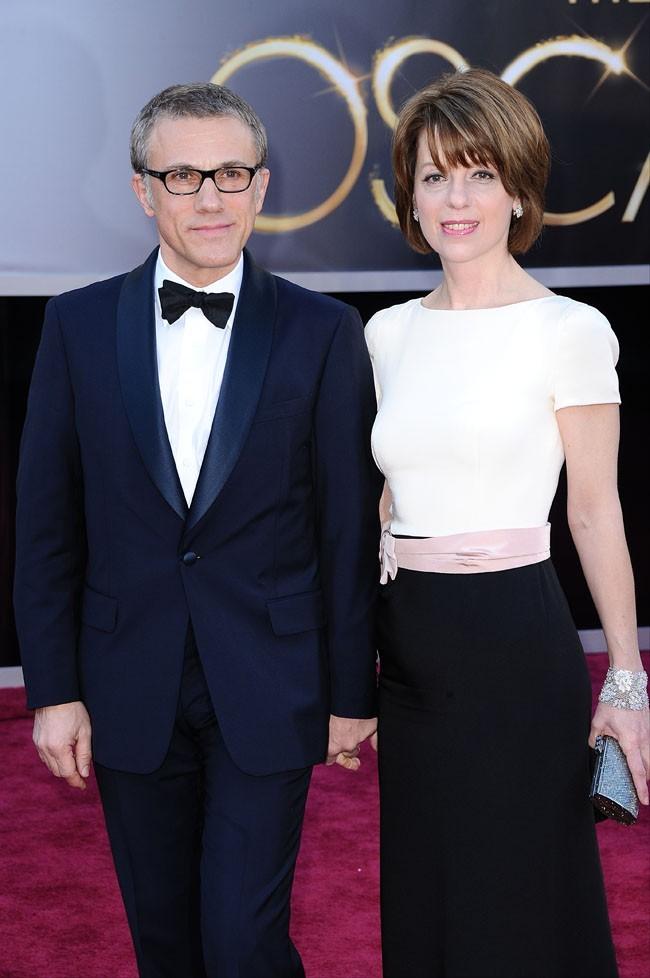 Christopher Waltz et sa femme Judith Holste sur le tapis rouge des Oscars à Los Angeles le 24 février 2013