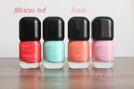 Vernis Kiko : Power Pro Nail Lacquer >> Couleurs : Lime Green / Acquamarine / Baby Pink / Apricot pour un été sweet et coloré. (4,90