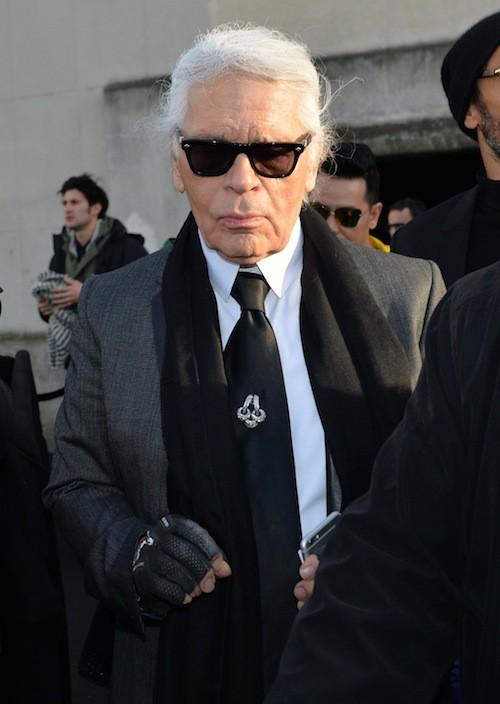 Karl Lagerfeld au défilé Dior Homme le 24 janvier 2015