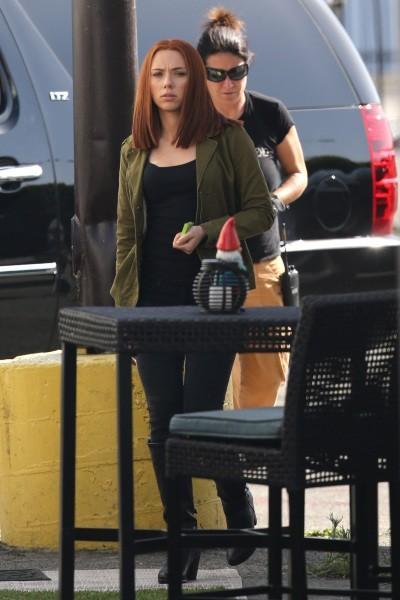 Scarlett Johansson sur le tournage de Captain America 2, Los Angeles le 23 avril 2013