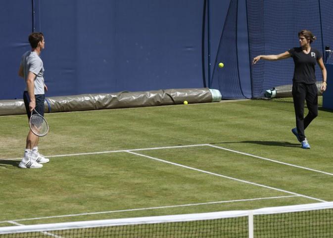Premier entraînement pour Andy Murray et Amélie Mauresmo !