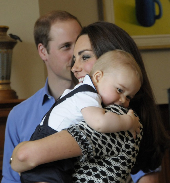 Le Prince William, Kate Middleton et le Prince George à la fête organisée en soutien à la Plunket Association de Wellington le 8 avril 2014