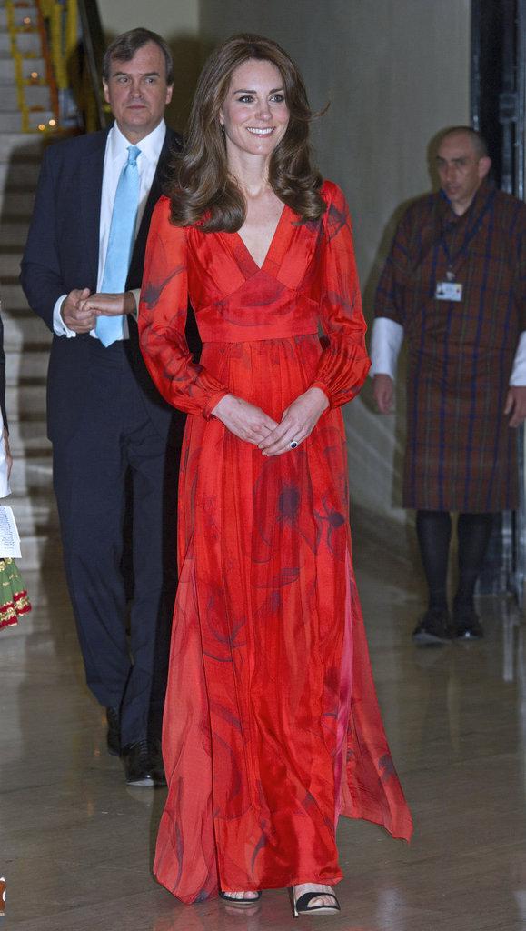 Photos : Princesse Kate au Bhoutan : une robe coquelicot pour son dernier diner !