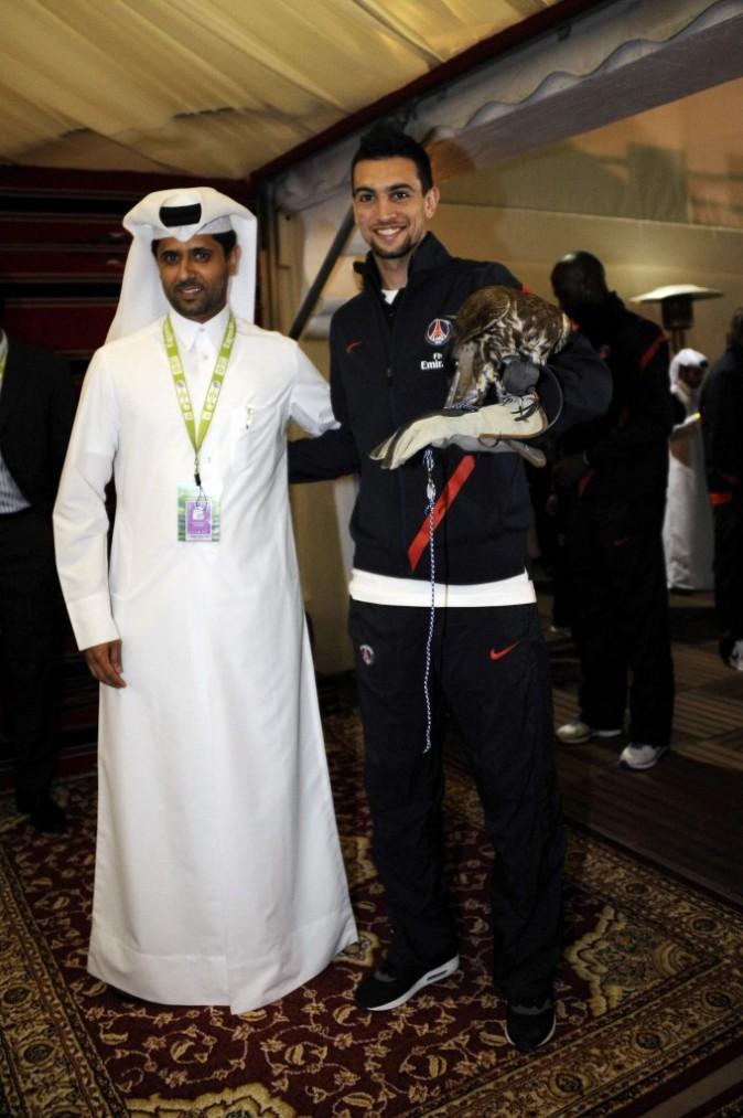 Nasser Al-Khelaïfi et Javier Pastore dans le village VIP de l'Open de tennis de Doha, le 2 janvier 2012.
