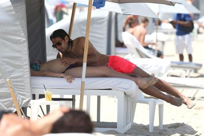 Radamel Falcao avec sa femme Loreleil Taron à Miami le 18 juin 2013